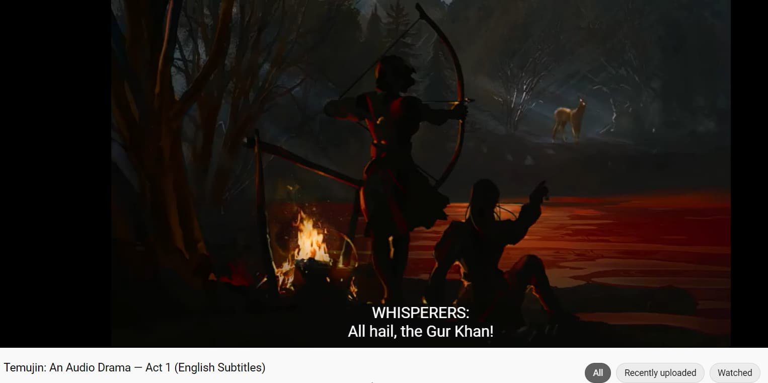 Screenshot from Temujin's YouTube video. The dark image shows two hunters at night by a fire, one standing and aiming a bow and arrow at a distant deer, the other sitting and pointing to it. A caption on the video reads: WHISPERERS: All hail, the Gur Khan!