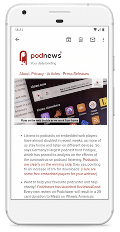 Podnews on a phone
